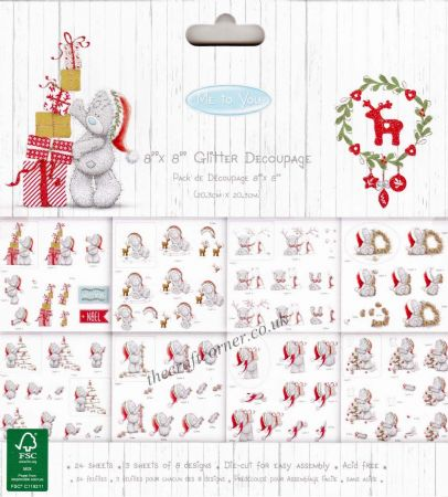 "Me To You Christmas 8"" x 8"" Glitter Die Cut 3D Decoupage Pad by Trimcraft"